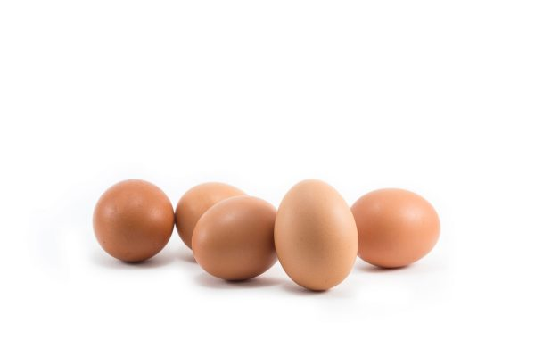 Five brown eggs